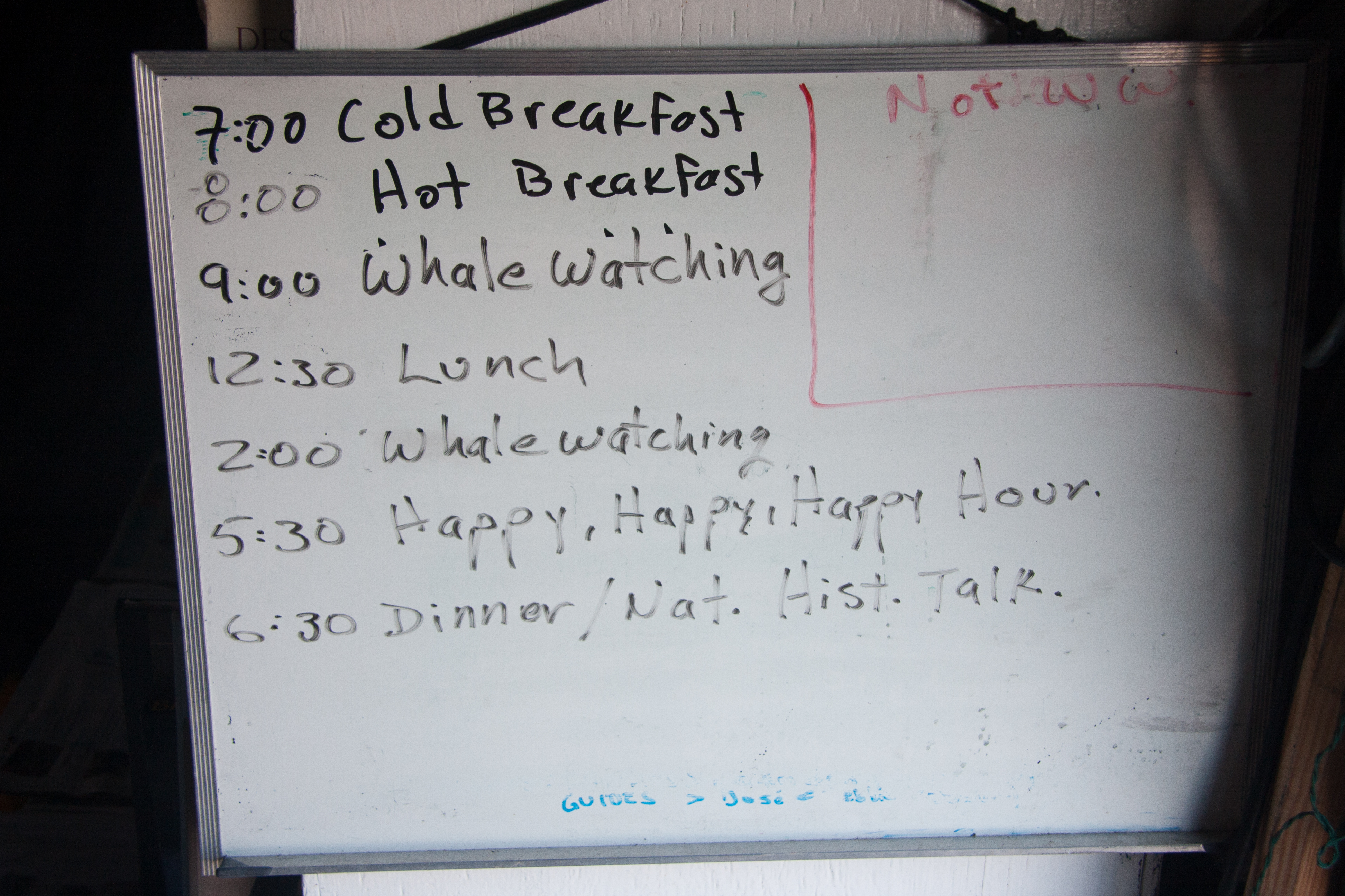 White board with a day schedule