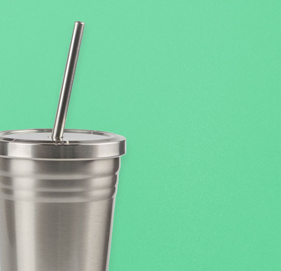 metal cup and metal straw