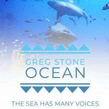 The Sea Has Many Voices logo over a white gradient with two sharks in the background