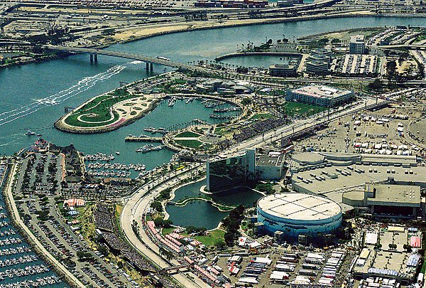 Aerial photo of Rainbow Harbor in 2000