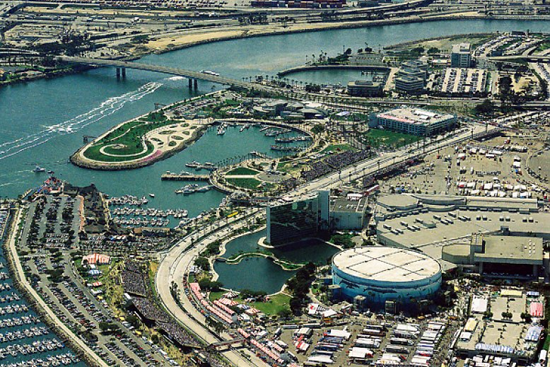 Aerial photo of Rainbow Harbor in 2000 - slideshow