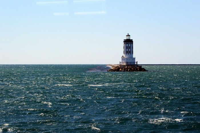 LA lighthouse on the way in from a whale watch - lightbox