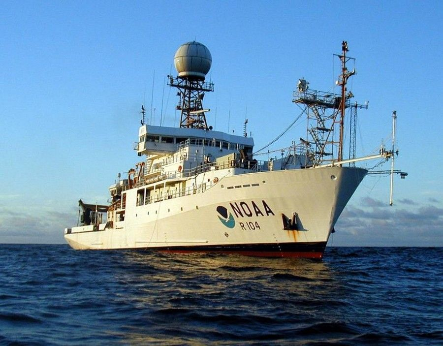 RV Ronald H. Brown research ship in the ocean - lightbox
