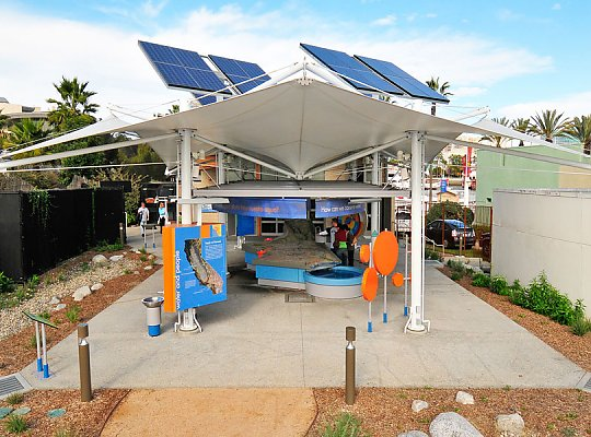 Model of southern California underneath an overhang with solar panels on top - slideshow