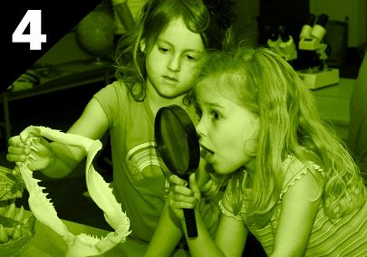 Two girls investigate shark jaws with magnifying glass