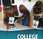 Young adults and microscopes with College wording