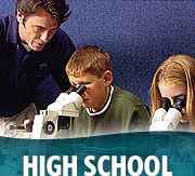 Educator, students, microscopes with High School wording