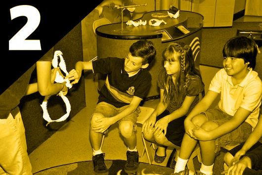 Kids exploring shark jaws with educator - popup