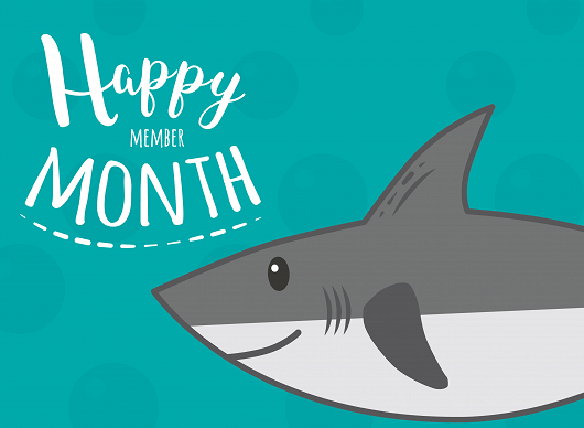 Happy Member Month shark card - popup