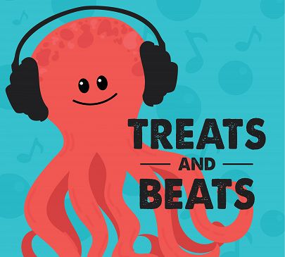 Smiling octopus with headphones illustration