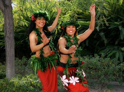 Pair of hula dancers