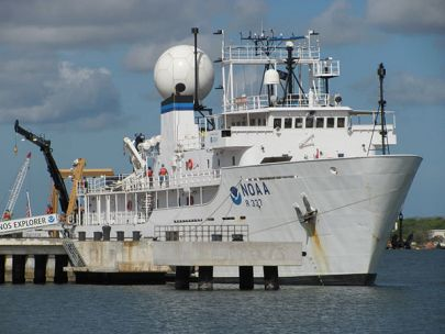 Okeanos Explorer - a ship dedicated to Ocean Exploration on the water