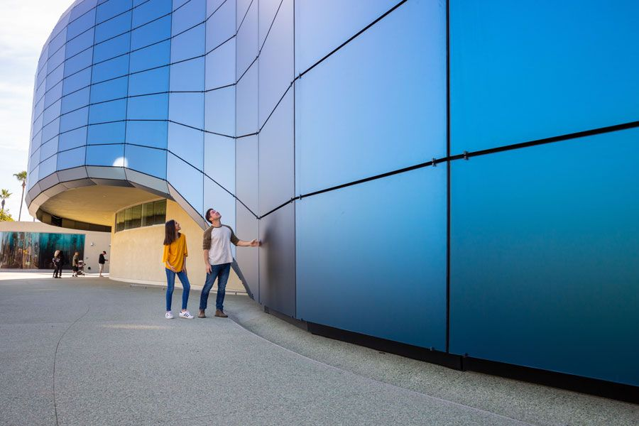 Young couple examines glass panels - lightbox