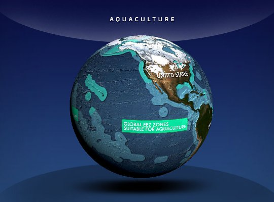 globe showing areas for aquaculture - slideshow