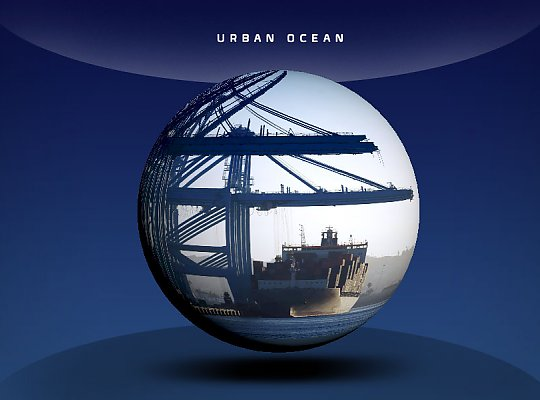 globe showing a crane and boat - slideshow