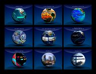 collage of globes