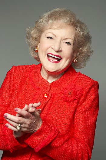 Betty White in red dress