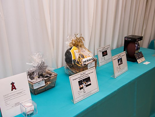 Silent auction items on table