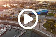 Aerial View of Aquarium with Play Button