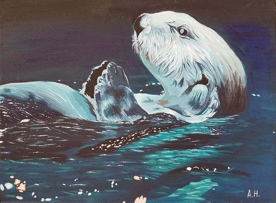 Painting of otter swimming on its back - lightbox