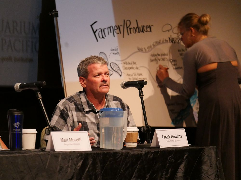 Frank Roberts of Lady's Island Oyster Inc. speaks on a panel during the Aquarium's 2018 aquaculture forum. - lightbox