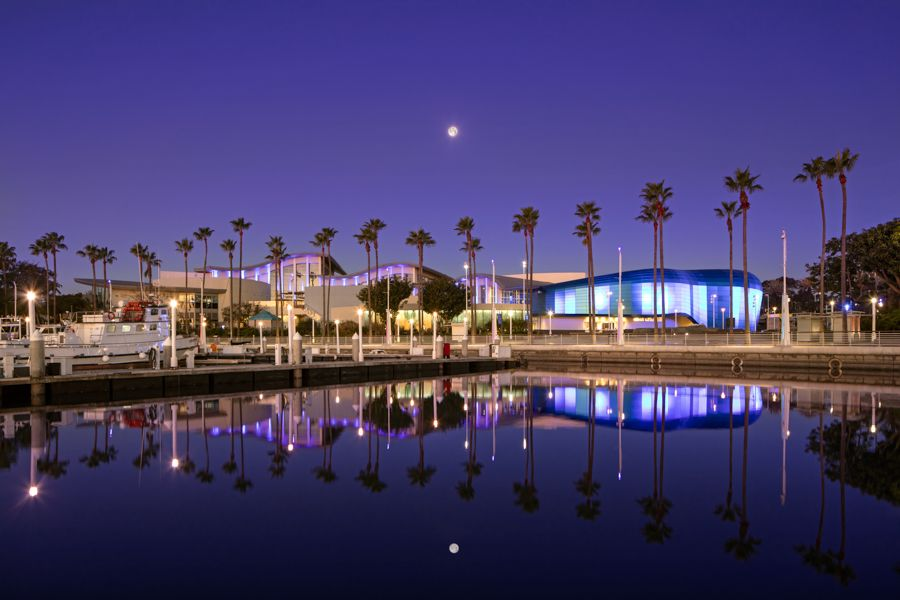 Pacific Visions at Night with Full Moon - lightbox