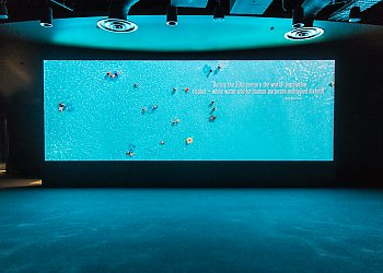 Projection screen depicting people in swimming pool - popup