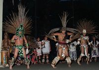 Aztec dancers performing in front of Blue Cavern - thumbnail