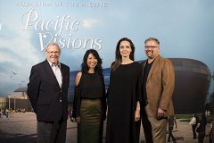 Schubel, Ung, Jolie, and Molina at the screening links to Angelina Jolie, Loung Ung, and Aquarium Engage Long Beach's Cambodian Community in Dialogue