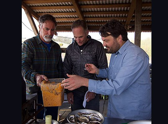 Chef Stuart Brioza and farmers Terry Sawyer and John Finger apply butter recipe to oysters before they grill them. 900x600 gallery. - slideshow