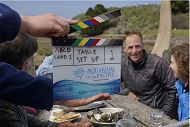 Series clapboard with Aquarium and Seafood for the Future logos with farmer John Finger and Sarah Newkirk in the background. 900x600 gallery links to Behind the Scenes and Extras