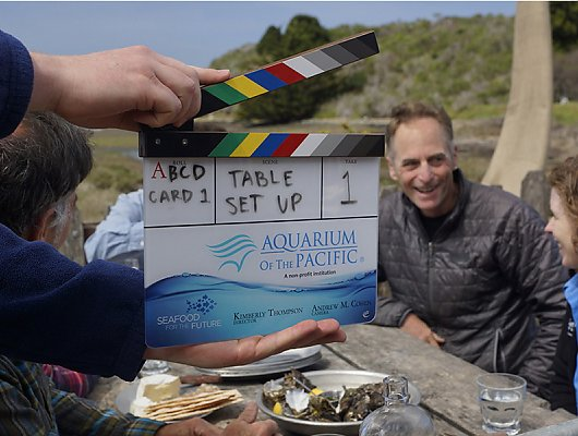 Series clapboard with Aquarium and Seafood for the Future logos with farmer John Finger and Sarah Newkirk in the background. 900x600 gallery