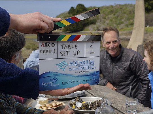 Series clapboard with Aquarium and Seafood for the Future logos with farmer John Finger and Sarah Newkirk in the background. 900x600 gallery - slideshow