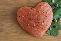 Salmon steak in the shape of a heart