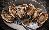 Plate of BBQ chipotle grilled oysters. links to Recipes