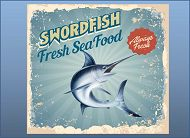 Swordfish seafood poster with bkgd links to California Swordfish