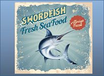 Swordfish seafood poster with bkgd