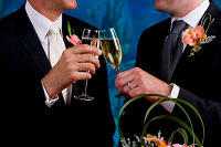 Two men in suits touching glasses - thumbnail