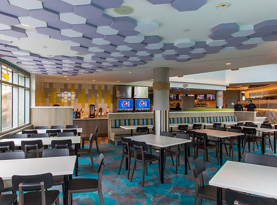 Cafe Scuba tables and hex tiles on the ceiling - slideshow