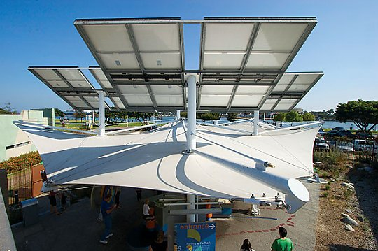 Solar panels above an exhibit - slideshow