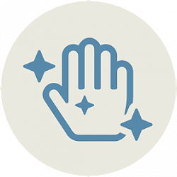 Icon of hand with sparkles
