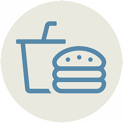 Icon of hamburger and drink