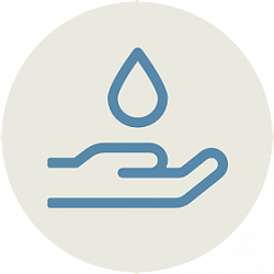 Icon of hand and water drop