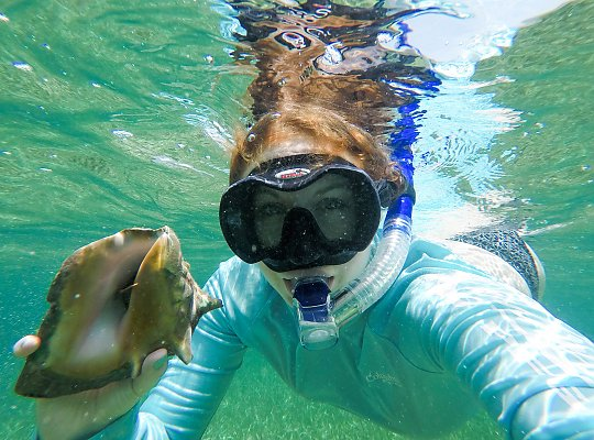 Woman wearing snorkel shows a snail underwater - slideshow