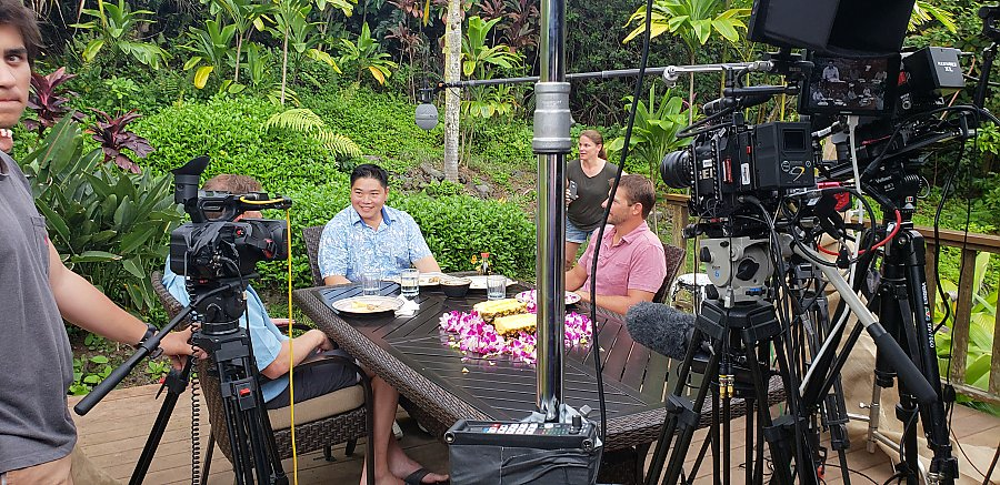 Chef Colin Hazama chats with James Morris and Tyler Korte between takes in Hawaii.