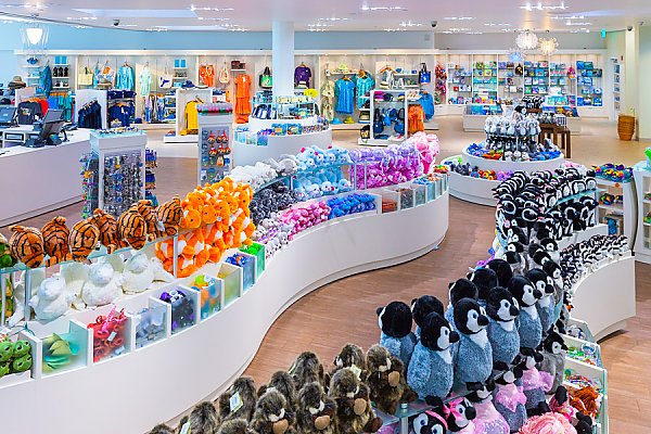 Pacific Collections Gift Store showing rows of plush toys