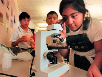 Children in lab with microscope