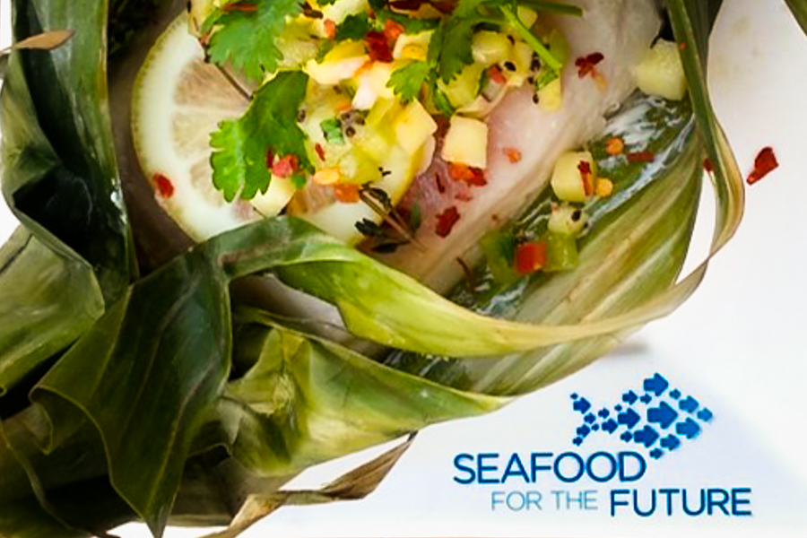 Filet of fish with salsa and Seafood for the Future logo