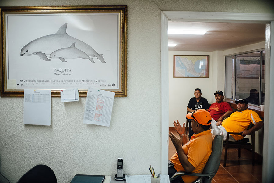 Fishermen meeting to discuss how to sustain their livelihoods while saving the vaquita