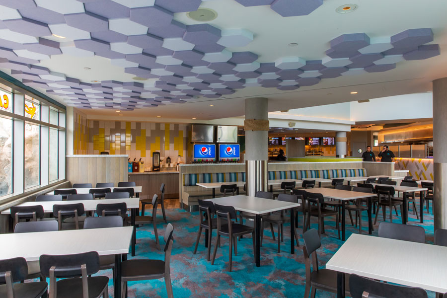 Cafe Scuba tables and hex tiles on the ceiling